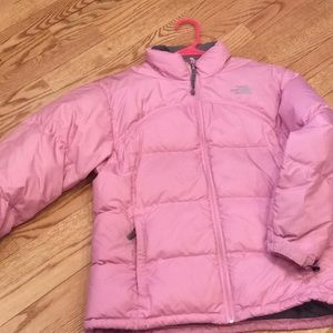 Girls XL pink North Face down jacket